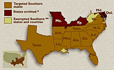 Y'all can't have no more slaves, 'cept West Virginia and some parishes in Louisiana.