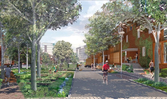 A citizen bikes on path in this concept drawing of Hollerich Village in southern Luxembourg.