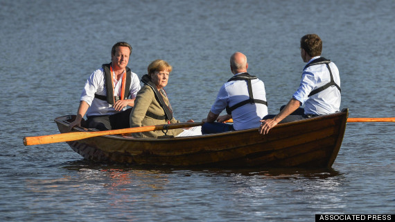 "Merkel is thinking: ""These tea-drinking idiots really think a boat ride is going to make me change my mind about Juncker?"""
